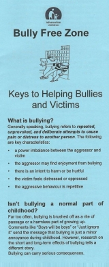 <h5>BULLY FREE ZONE: KEYS TO HELPING BULLIES AND VICTIMS</h5><p>What is bullying? Isn't bullying a normal part of childhood? Are there different types of bullying? What kinds of children are victims?</p>