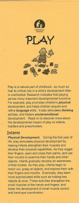 <h5>THE IMPORTANCE OF PLAY</h5><p>How does play foster infants', toddlers', and preschoolers' development? Play and physical development. Play and language development. Play and cognitive development. Play and socio-emotional development.</p>