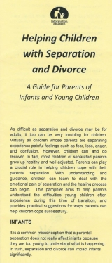 <h5>HELPING YOUNG CHILDREN COPE WITH SEPARATION/DIVORCE</h5><p>Concerns with infants. Concerns with toddlers. Concerns with preschoolers. What parents can do to help their child adjust.</p>